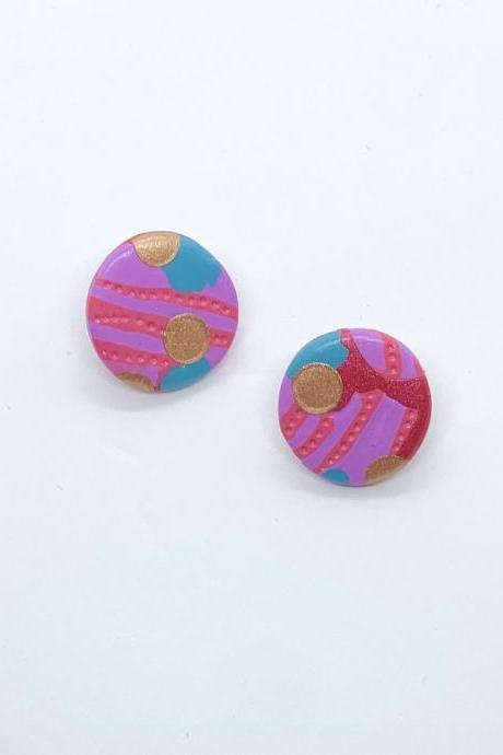 Colourful Fun Pattern Stud Polymer Clay Earrings