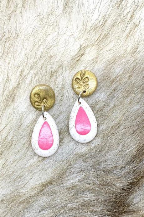 Pink, White And Gold Drop Polymer Clay Earrings