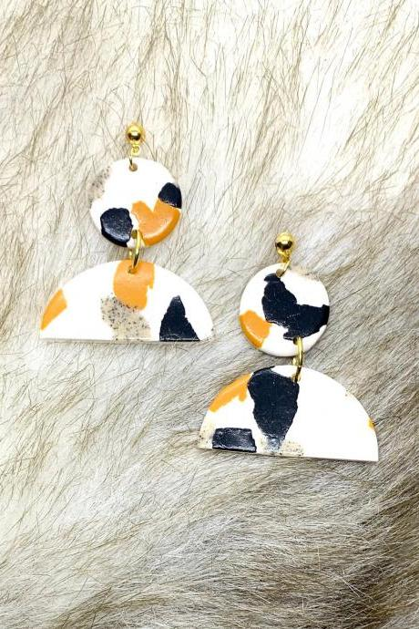 Mustard, Black And White Dangle Statement Polymer Clay Earrings
