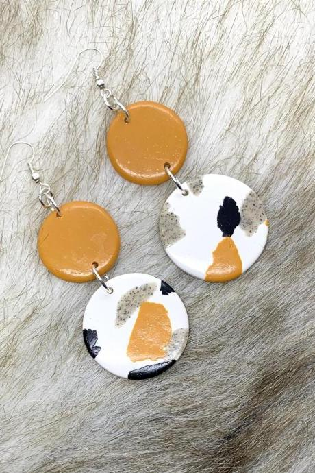 Mustard, Black And White, Dangle Statement Polymer Clay Earrings