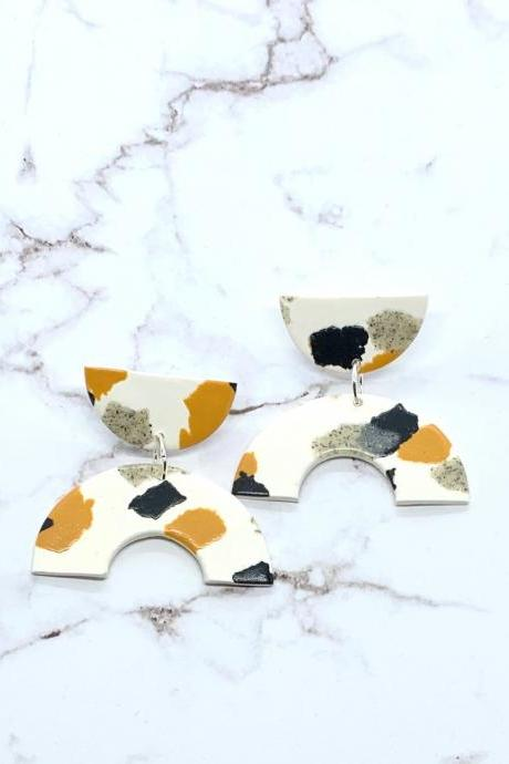 Mustard, Black And White Polymer Clay Dangle Statement Earrings