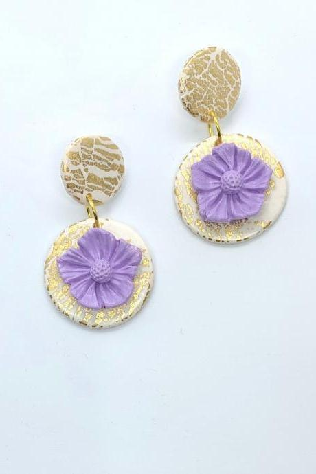 Gold Leaf Crackle Effect and White Earrings With Lavender Purple Flower