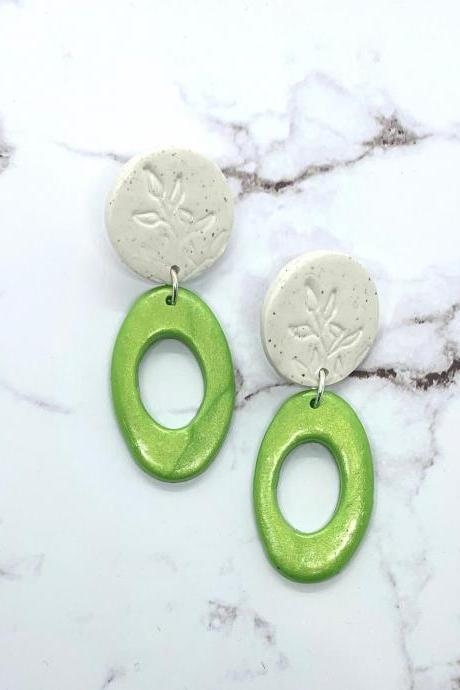 Green And White Dangle Earrings With Botanical Design