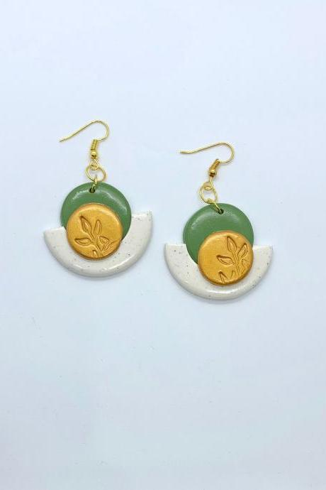 Green And Gold Earrings, Botanical Design, Dangle Boho Style