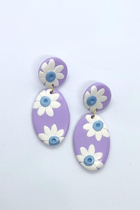 White Sunflower And Purple Dangle Polymer Clay Earrings