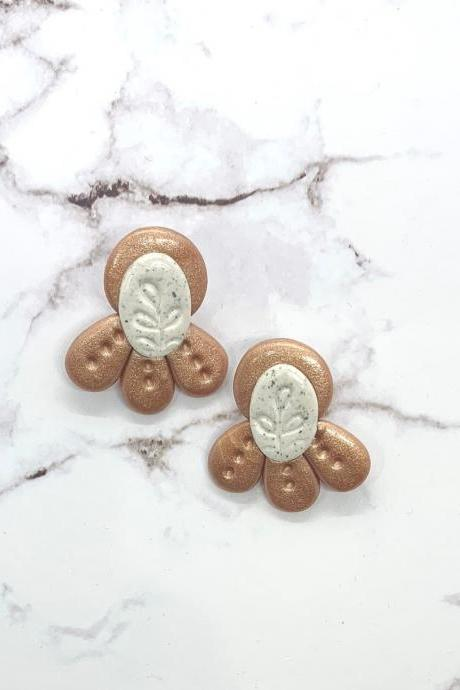 Rose Gold And White Stud Polymer Clay Earrings, Botanical Imprint Design