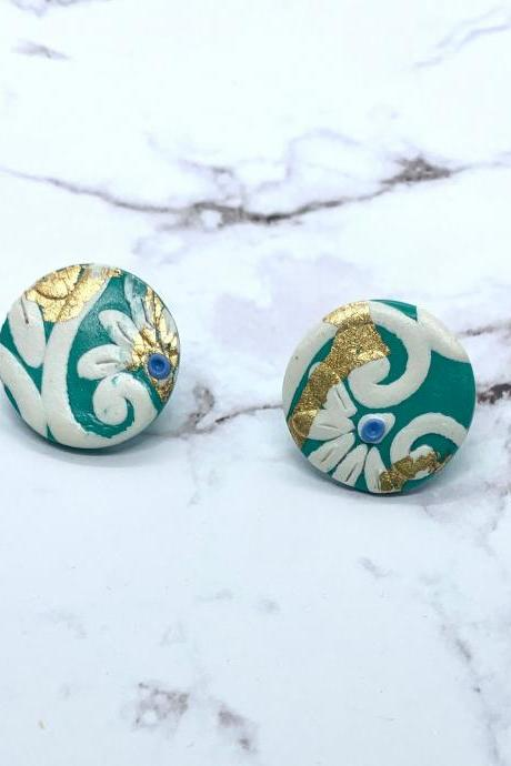 BoHo Green And Gold Leaf Polymer Clay Stud Earrings